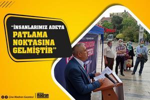 """Saadet Partisi (SP) Aydın İl Başkanı İbrahim Danacı, """"Ülkemizin, şehrimizin ve insanımızın dertleri her geçen gün katlanmaktadır. Siyasetteki skandallar, ekonomideki beceriksizlikler ve salgın süreci derken insanlarımız adeta patlama noktasına gelmiştir"""" dedi."""